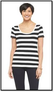 Black and White Striped Target Top