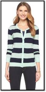 Mint and Navy Striped Target Cardigan
