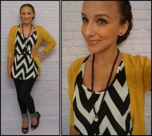 Chevron Top and Mustard Cardigan ModCloth